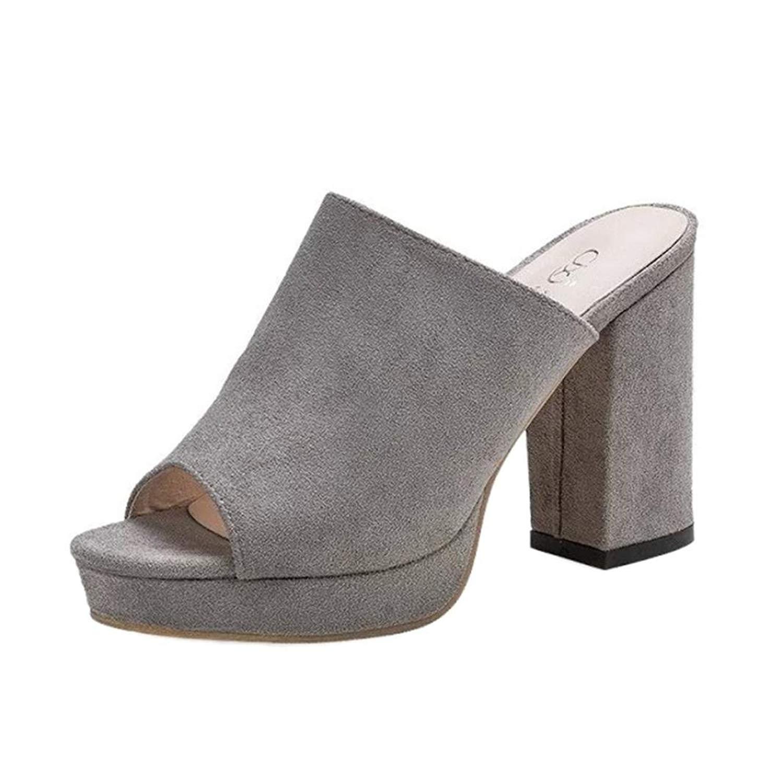 92a7a9dcee9ef2 Get Quotations · Women Sandals Daoroka Summer Sexy Fish Mouth High Block  Heel Slipper Flip Flop Outdoor Elegant Cute