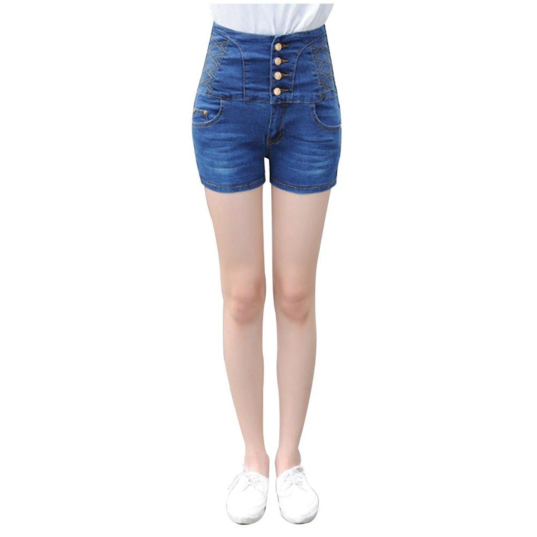 078f33cb49d40 Get Quotations · NJunicorn Uncle Sailor Denim Nautical Anchor Rockabilly High  Waist Women's Shorts Hotpants Plus
