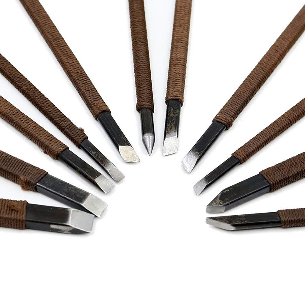 11pcs Stone Carving Tool Chisels/Knife Set Kit Mn Alloy Steel with Portable Bag