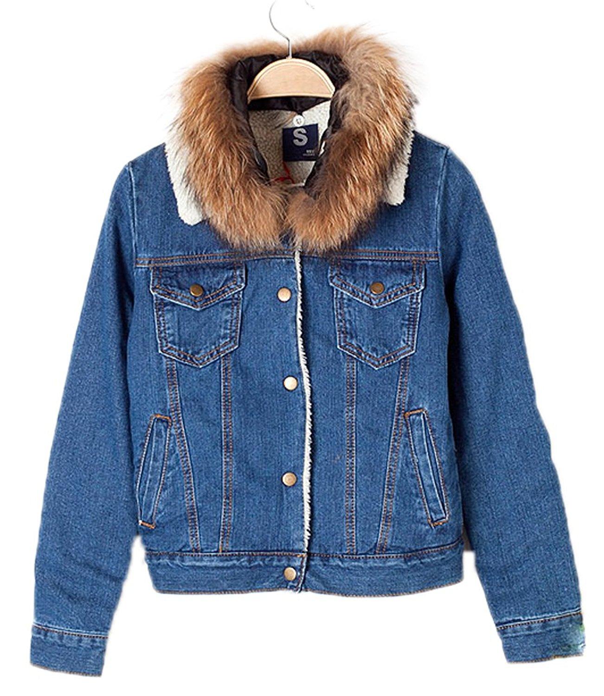 AvaCostume Women's Fleeced Fur Collar Thermal Trucker Denim Jacket