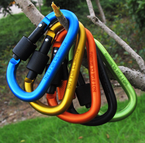 Outdoor mountaineering buckle clasp hook male hang spring snap hook type D aluminum carabiner