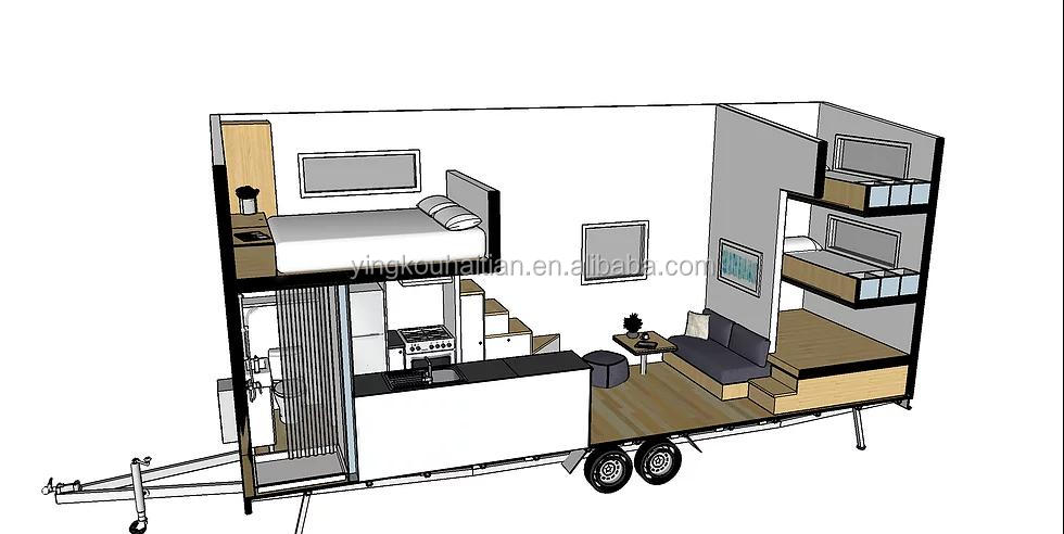 factory price luxury steel board realwood open kitchen  loft stairs tiny house on wheels