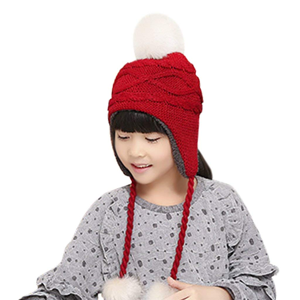 7b7bcbeea522ba Get Quotations · IPENNY Kids Baby Toddler Winter Warm Earflaps Hats Cable  Knit Fleece Lined Pom Hat Beanie Hat