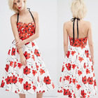 China supplier clothing OEM service sleeveless red floral printed women's evening gown dress