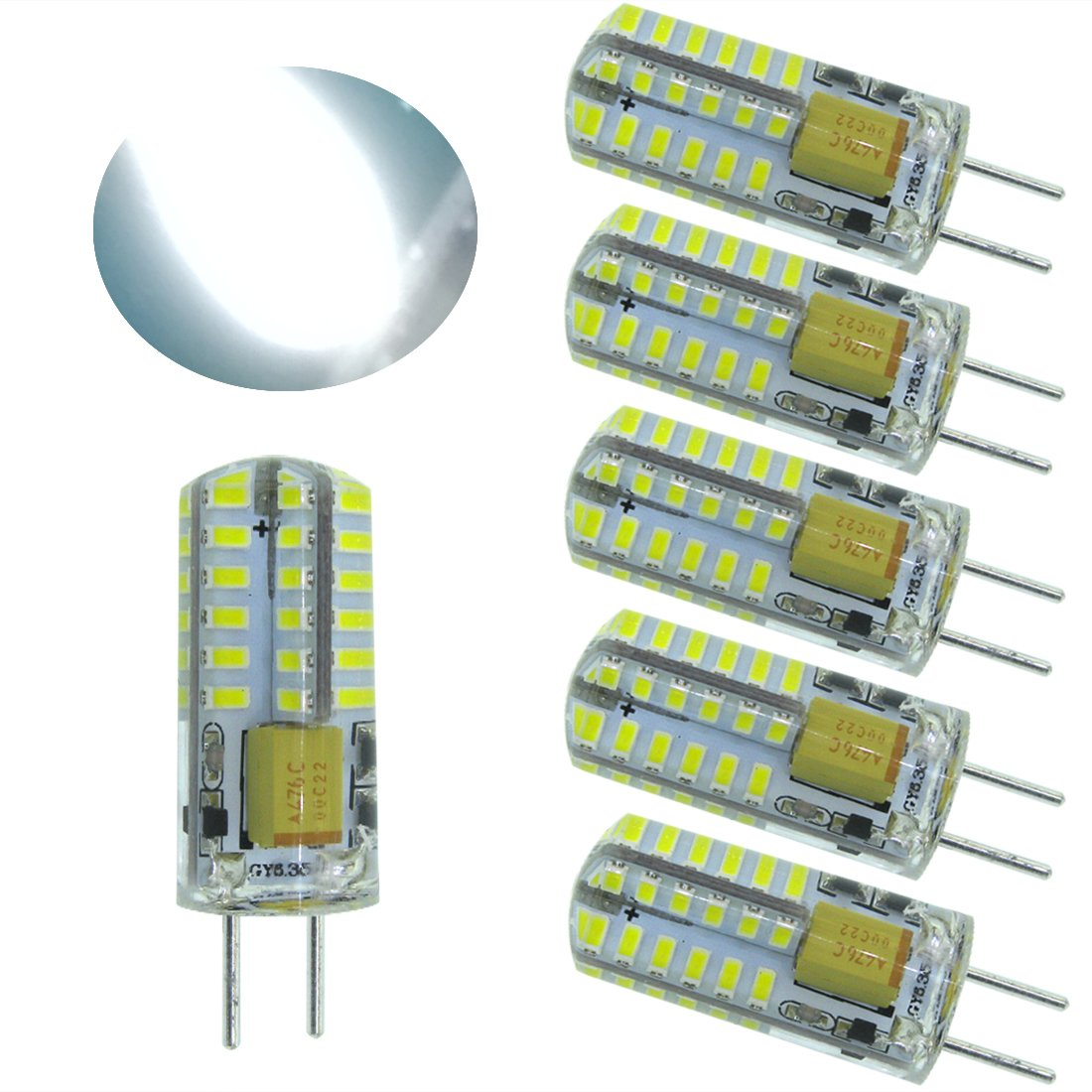 Ulight AC12V and DC12V led Gy6.35 G6.35 Bi-Pins JC Type 3W Led Light Bulb, T3/T4/T5 G6.35/Gy6.35 Base JCD 25W or 35W Halogen Incandescent Replacement Bulb (Daylight White 6000K)