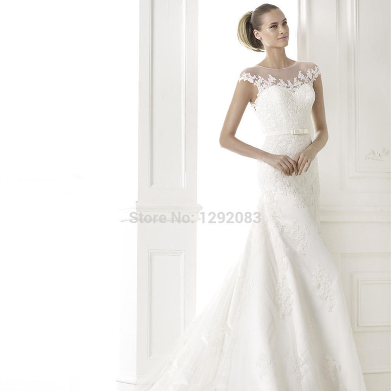 1f0372eda06c 2015 Bewitching Looking Trumpet Style Sheer Scoop Neck Cap Sleeves Lace  Court Train Wedding Dress Modern