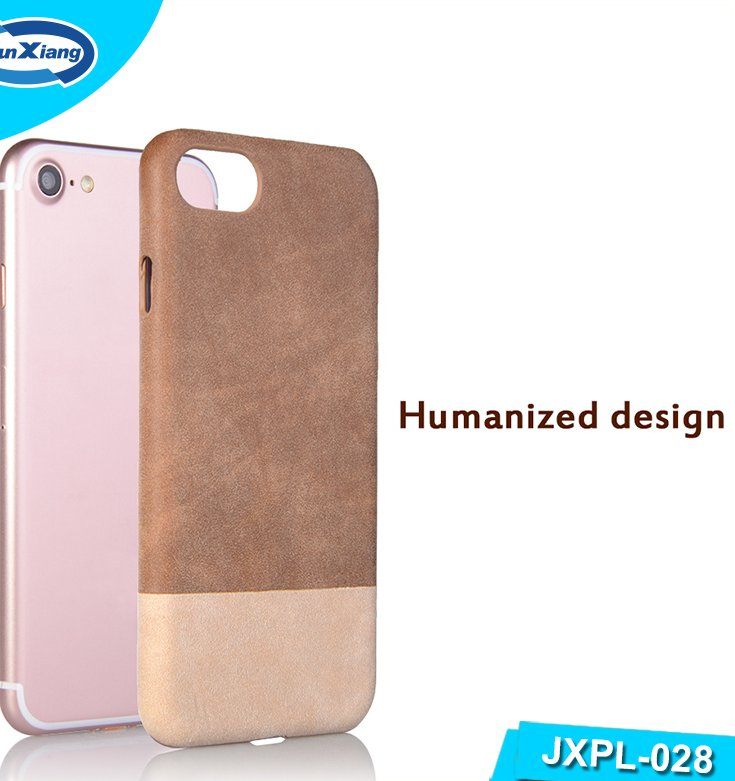 New fashion Ultra thin double color PU leather back cover case for Iphone 7