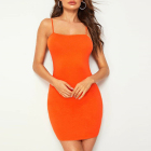 Oem Neon Orange Solid Sexy Club Bodycon Cami Dress Vestidos Fashion Women Clothing Custom Jersey Dress