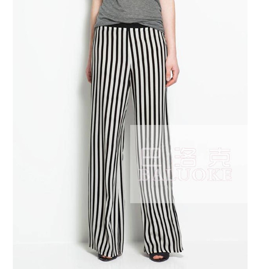 af2c4c42d796a Get Quotations · 1422 Europe America style women s Detonation model trousers  popularity classic black and white stripes trousers casual