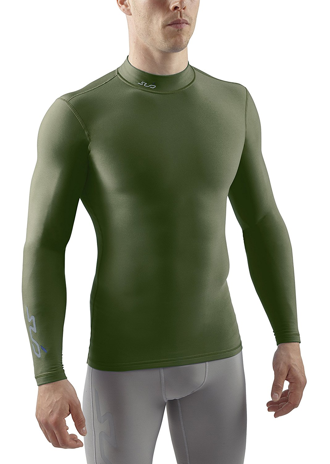 Sub Sports Mens Thermal Long Sleeve Mock Turtleneck Neck Vest Top with a Brushed fleece inner for Warmth, Base Layer, Moisture Wicking, Compression Fit - Green - US XS (UK S)