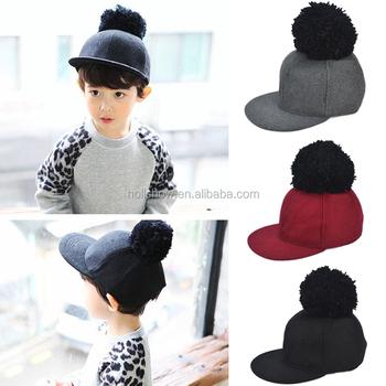 Fashion Trendy Boys Girls Flat Brim Wool Pom Pom Hat Kids Baseball ... fe7bf011294