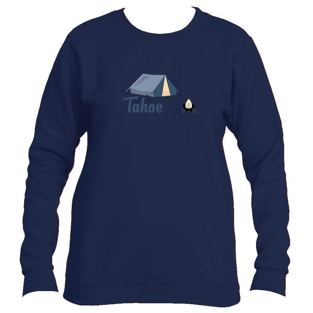 f50335a0043 Get Quotations · Tenn Street Goods Lake Tahoe Camping   Camp Fire -  California Women s Fleece Crewneck Sweatshirt