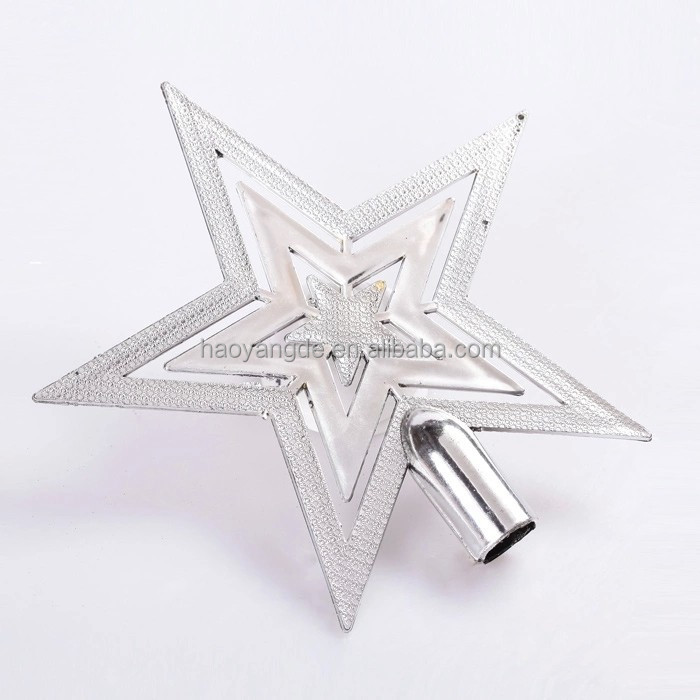 Hot selling christmas tree topper star silver star xmas decoration ornament