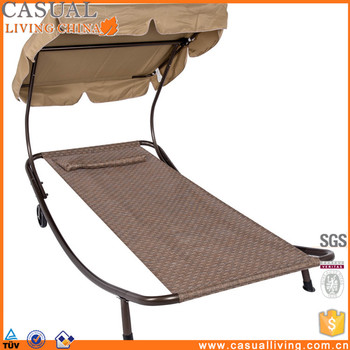 Patio Outdoor Portable Chaise Lounge Chair Hammock Bed With Sun Shade And Wheels