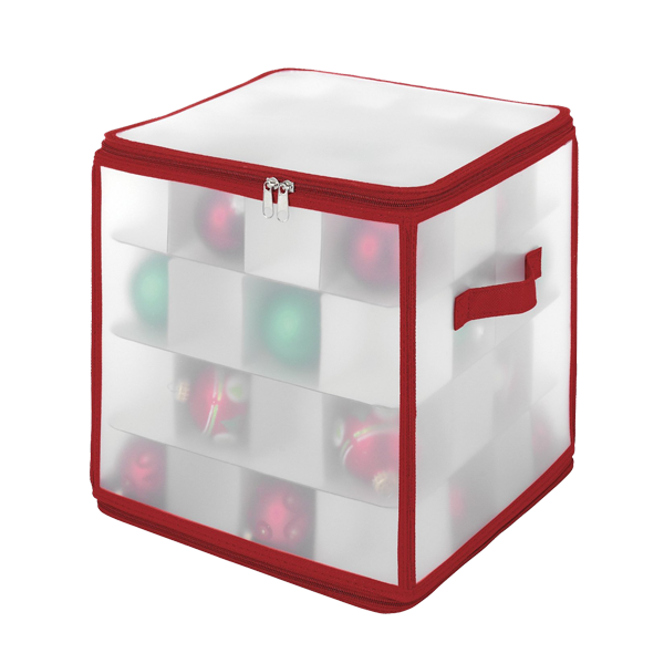 Elastic White See-through Plastic Christmas Ornament Ball Storage Chest, Box for Organizer