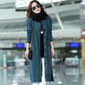 2016 New Fashion Women Spring Autumn X Long O Neck Long Sleeve Single Breasted Plus Size