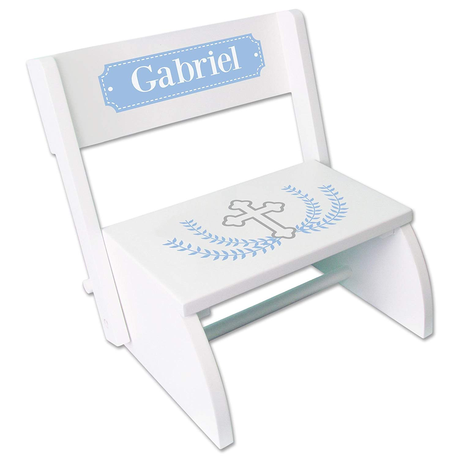 Personalized Cross Garland Light Blue White Wooden Folding Stool and Seat
