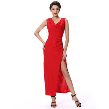 Seksi Celah Tinggi Maxi Merah Wanita Gaun Panjang Busana Gaun Pesta