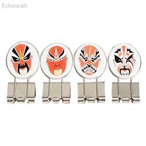 Set of 4 Retro Chinese Peking Opera Makeup Metal Binder Clips/Paper Clips/Decors - Echowalt updated