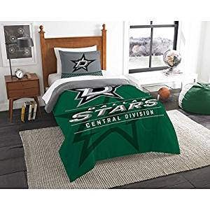 2 Piece NHL Dallas Stars Comforter Twin Set, Sports Patterned Bedding, Featuring Team Logo, Fan Merchandise, Team Spirit, Ice Hockey Themed, National Hockey League, Green Multi, For Unisex
