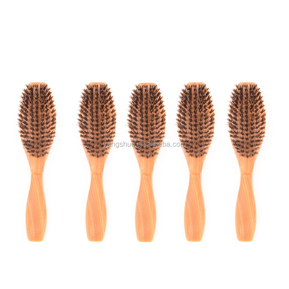 Nature Material Hair Brush 100% Boar Bristle Brush Nature Green Sandalwood Handle Hair Brush
