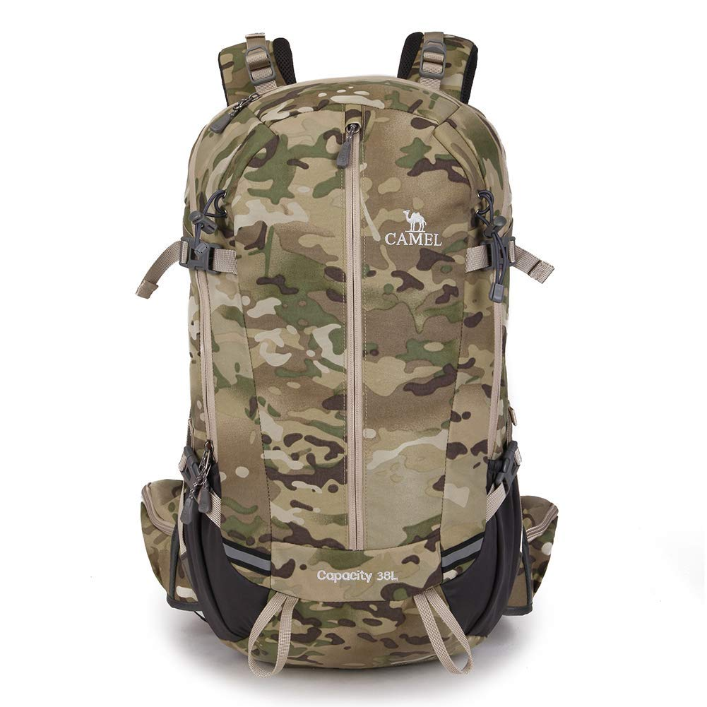 CAMEL CROWN 38L Internal Frame Camouflage Durable Hiking Backpack Outdoor  Dayback Waterproof with Rain Cover for 63df6b94a49d1