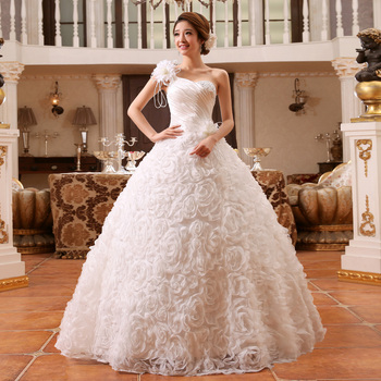 c5e2107be47e01f 2015 новый невеста плечевой ремень свадебное платье одно плечо блестка  повязку шнуровка свадебное платье бальное платье
