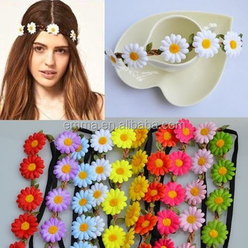 Boho Daisy crown Headband Hairband Festival Wedding Elastic Flower Floral  Hair Garland H267 56dd40f3940