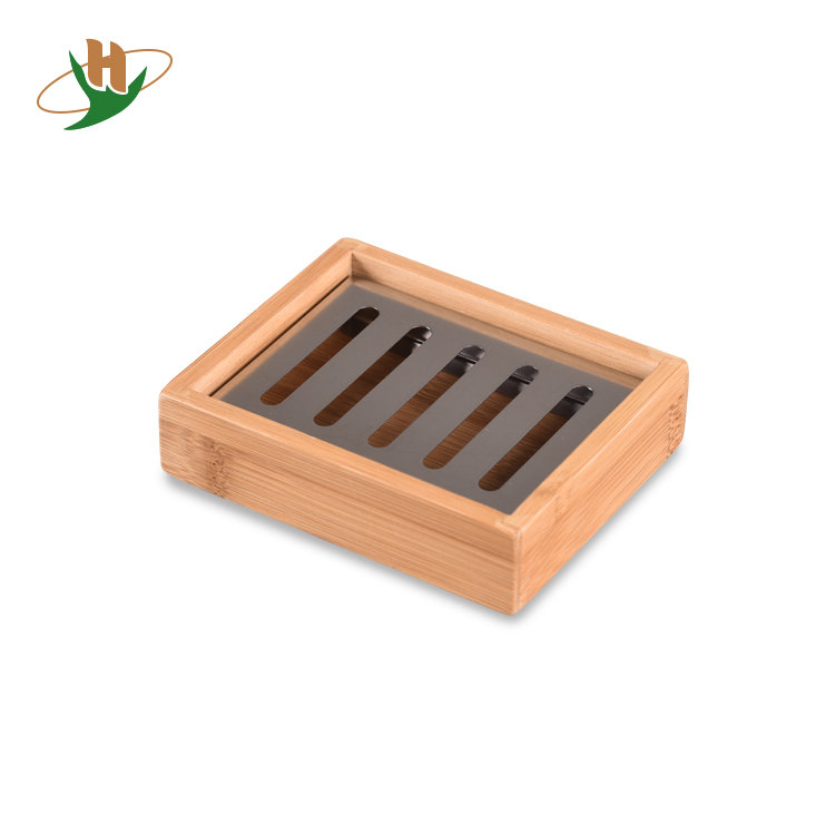 Bathroom vanities wholesale wooden bamboo soap dish holder with stainless insert