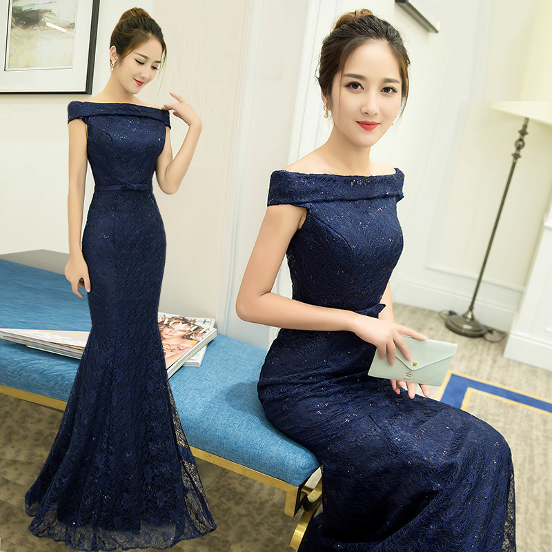 Charming Dinner Party Dress Part - 12: 2016 New Off Shoulder Dinner Party Long Female Evening Dress Dh-6004 - Buy Dinner  Party Dress,Evening Dress,Long Female Evening Dress Product On Alibaba.com