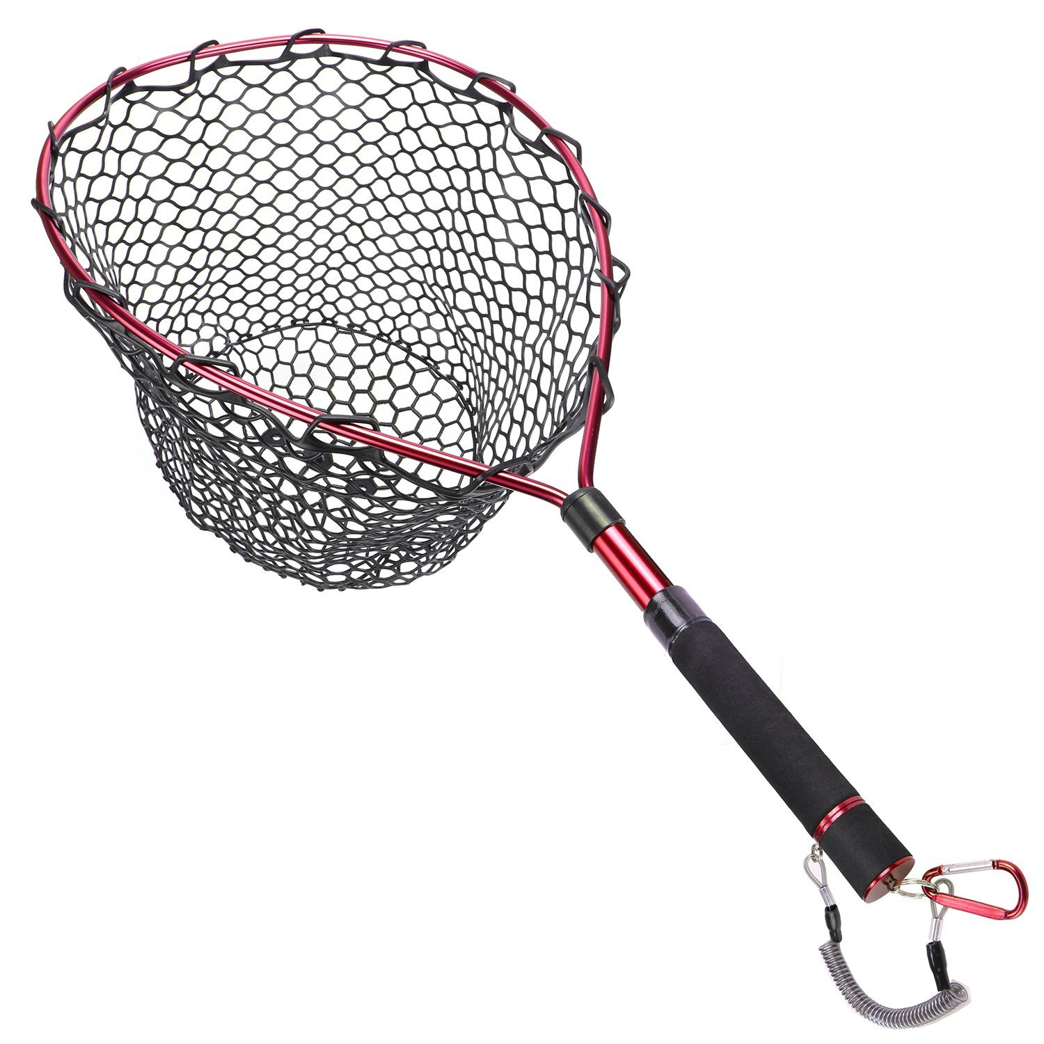 Goture Magnetic Clip Fly Fishing Landing Net Catch and Release Trout Net – Aluminum Alloy Frame with Soft Rubber Mesh(Black Rubber Net/Purple)