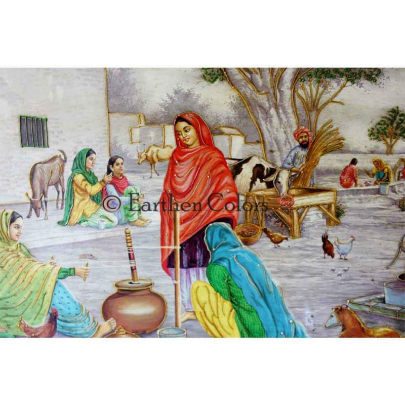 Traditional Handmade Indian Rajasthan Village Life Miniature Paintings
