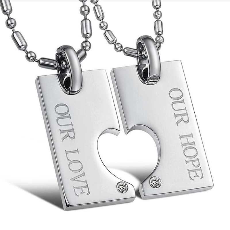 Fashion heart pendant necklace couples heart pendant necklace 316l surgical stainless steel chain