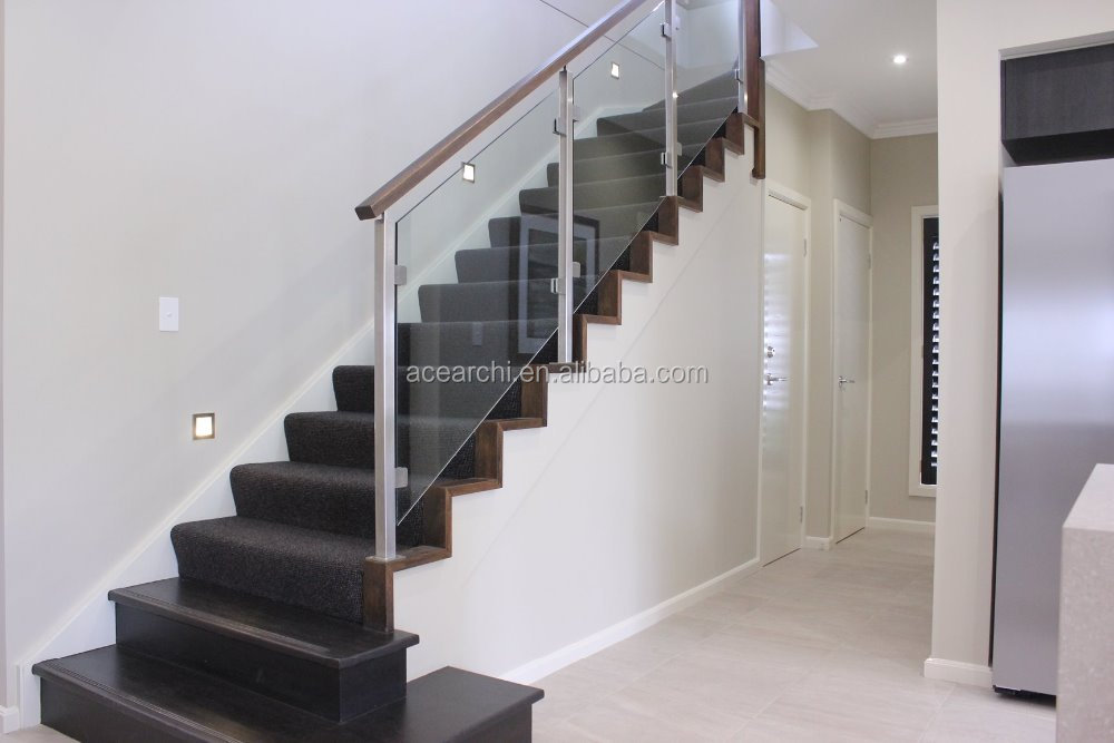 Low Price Cost Glass Stair Railing With Mirror Finish Glass Handrail