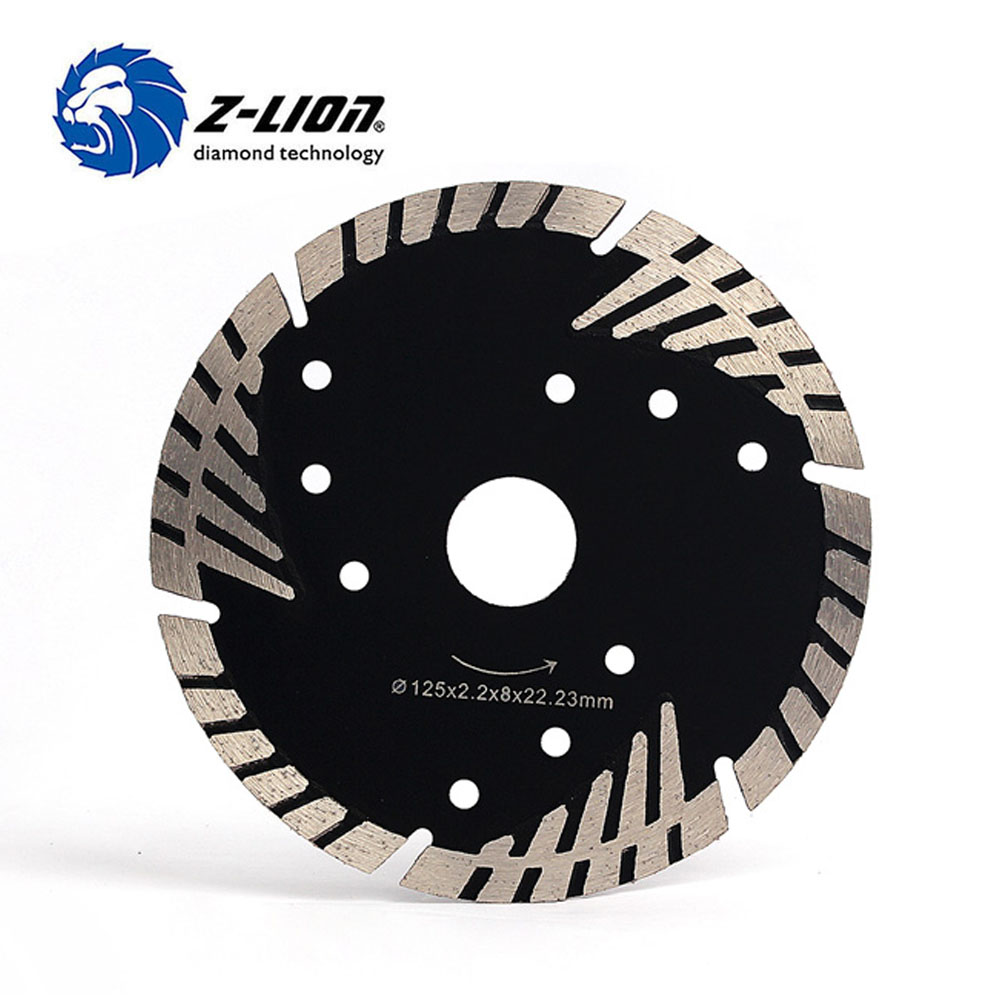 "Z-LION 5"" 125mm diamond saw blade for granite stone cutting segmented turbo teeth slant protection concrete metal cutting disc"