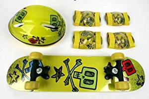 VCAN Sports VC2406CB-Y SKULL Yellow Skull Design Youth Skateboard Combo Pack with Board, Helmet, Knee and Elbow Pads