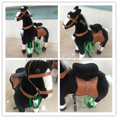 Custom black soft plush horse toys cowboy horse toy cowboy horse toy for sale
