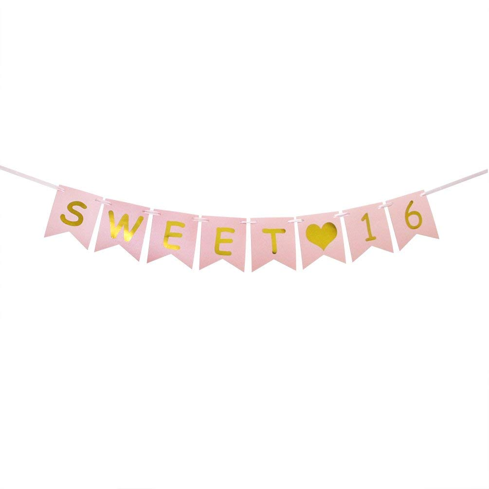 Get Quotations INNORU Sweet 16 Banner Pink And Gold Sixteen 16th Birthday Decorations