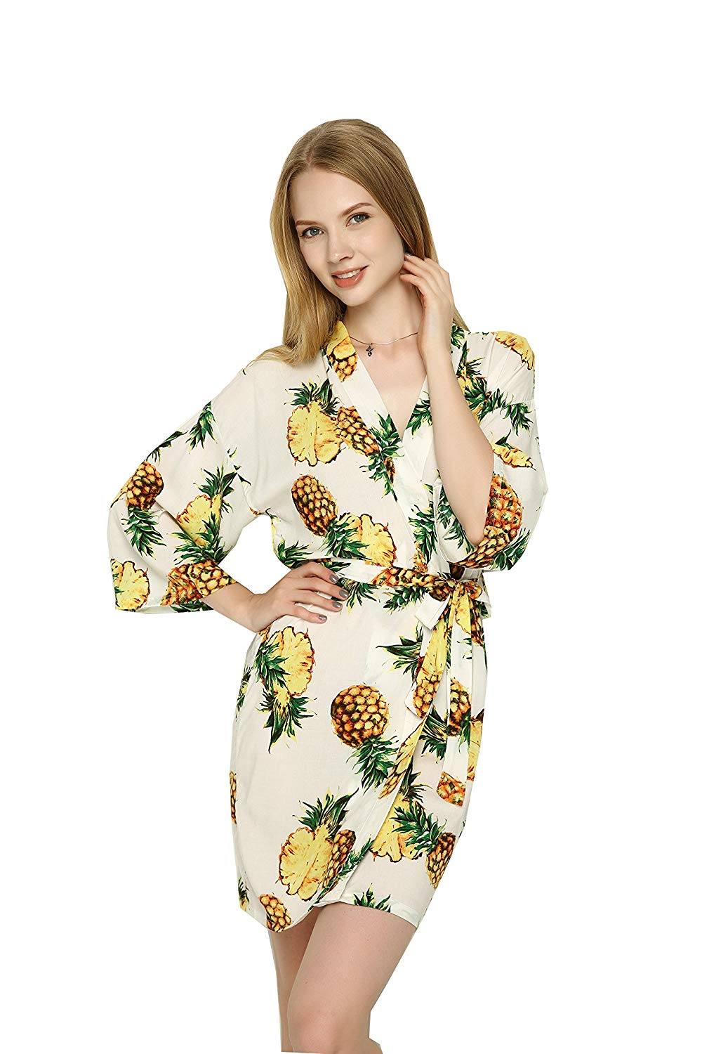 e54fa490a4 Get Quotations · Zarachilable Women Cotton Pineapple Floral Robe bride robe  bridesmaid kimono Robe