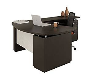"""Mayline 66""""W L-Shaped Desk 66""""W X 78""""D X 29.5""""H (Return Side 78"""" - Overall Depth 84"""") Comes With 2 Pedestals - Textured Mocha - Left Return (Right Shown)"""