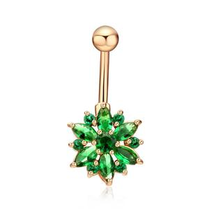 Wholesale Body Jewelry AAA Zirconia Flower Shape Medical Piercing Belly Button Ring