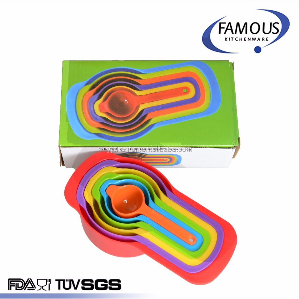 1/2tbsp 1tbsp 1/4cup 1/3cup 1/2cup 1cup rainbow color plastic liquid measuring cup