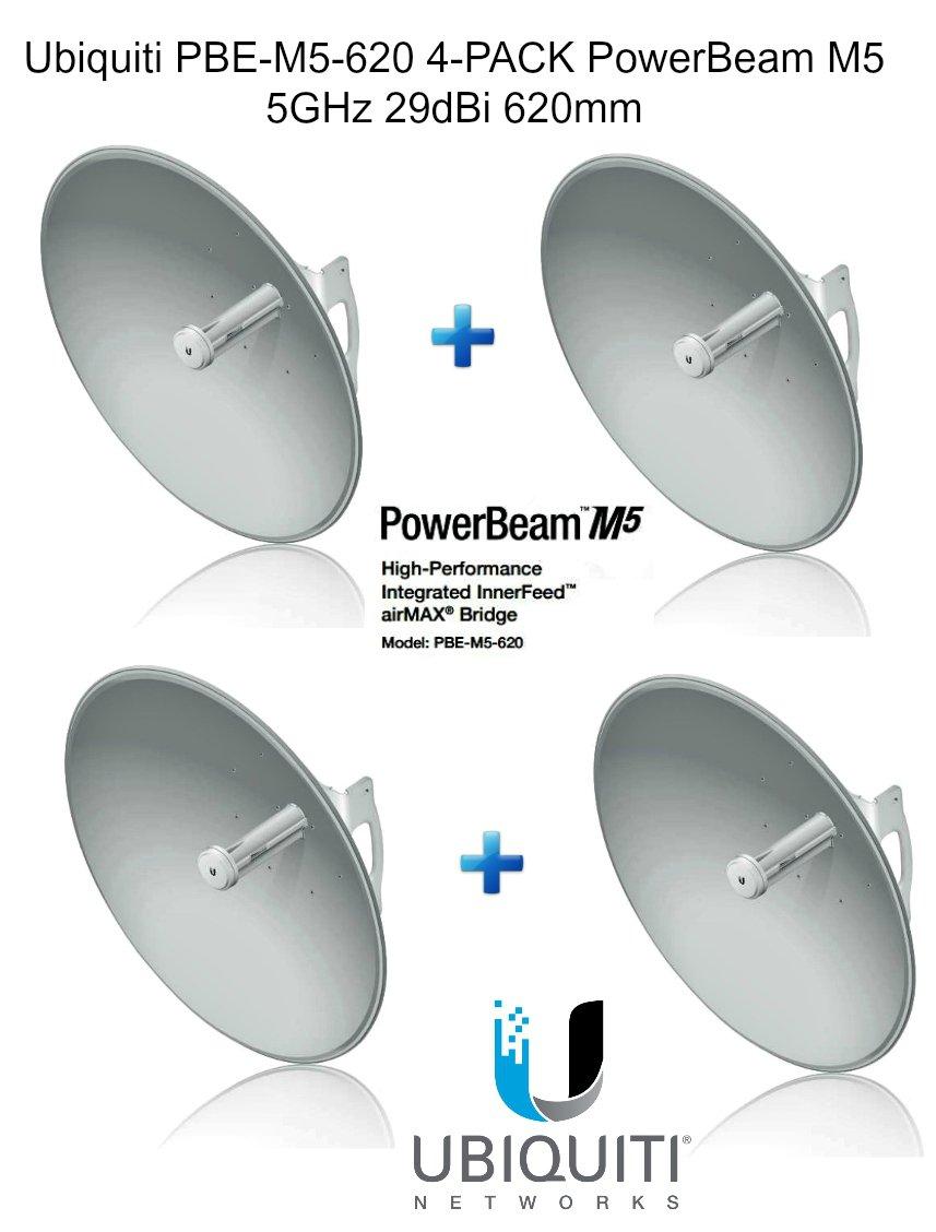 Ubiquiti PBE-M5-620 4-pack PowerBeam M5 5GHz 29dBi 620mm airMAX 30+km 150+Mbps