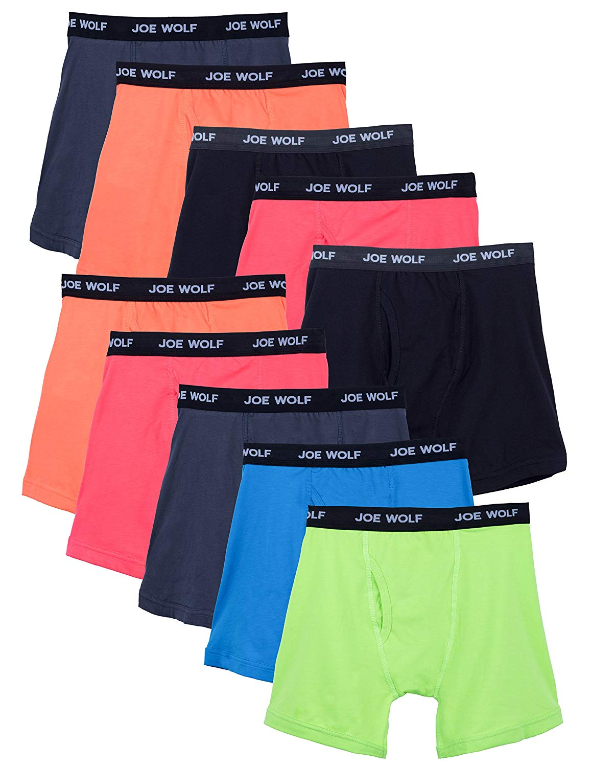 8cbdec3ddb63 Get Quotations · Joe Wolf 10 Pack Men's Cotton Blend Spandex Boxer Briefs  Underwear
