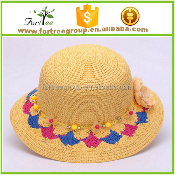 new fashion wholesale girls straw floppy hats with linen bowknot