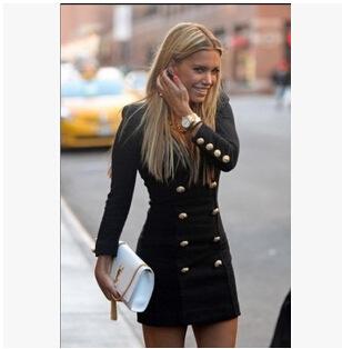 Персонализированные длинная рукавами платье кнопки обеспечивает пакетную