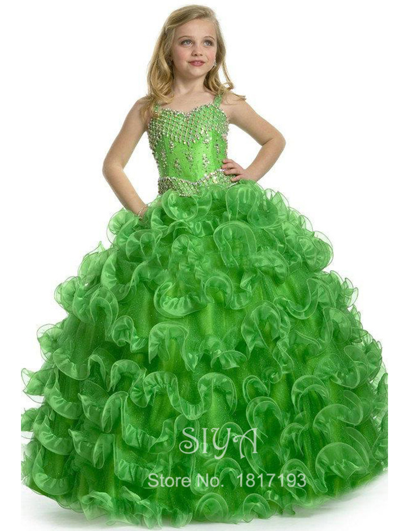 457aa698dff Luxury Green Crystal Ball Gown Flower Girl Dress Girls Open Back Beading  Pageant Dresses for Weddings