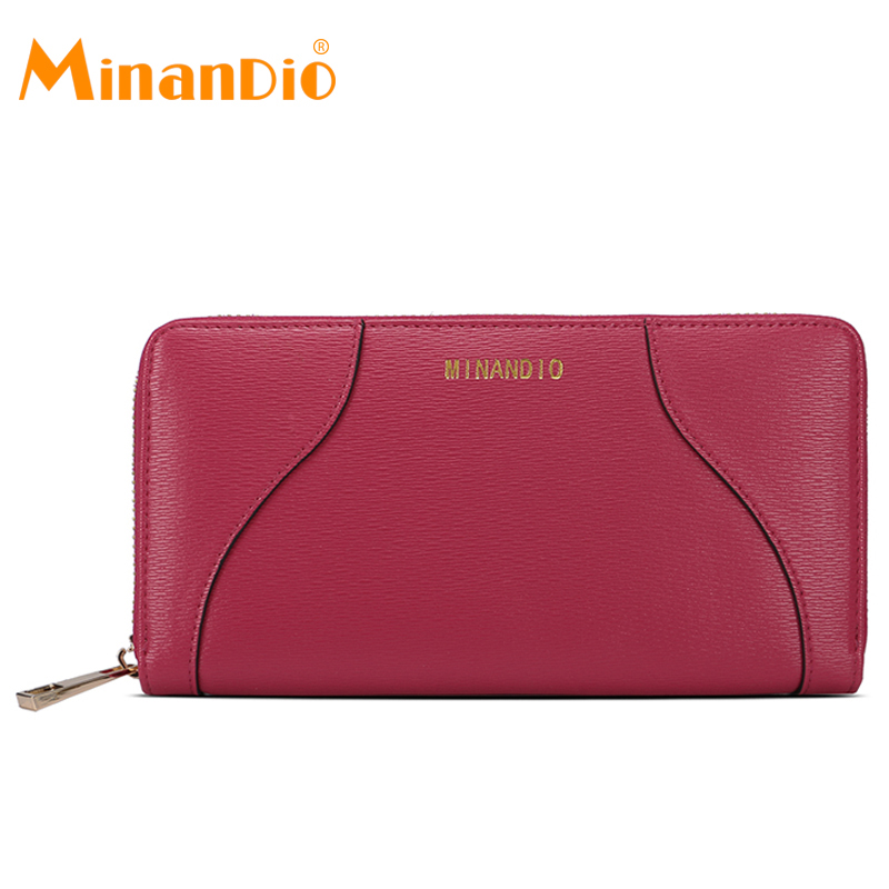 MINANDIOR fid lining material pu leather clutch wallet Rose red color zipper style fashion long women wallets for cellphone case
