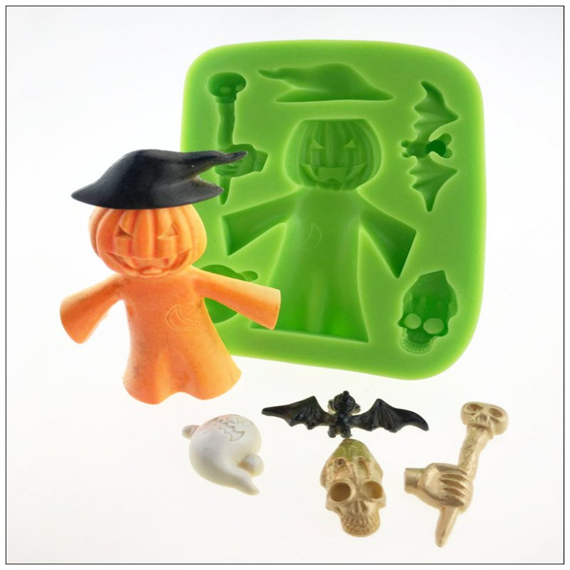 2016 Halloween china supplier <strong>silicone</strong> for gypsum mold for fondant cake and cookie