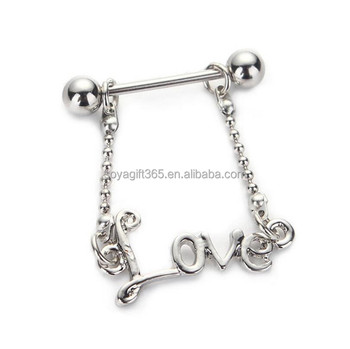 Love Surgical Steel English Letters Nipple Piercing Rings Bar
